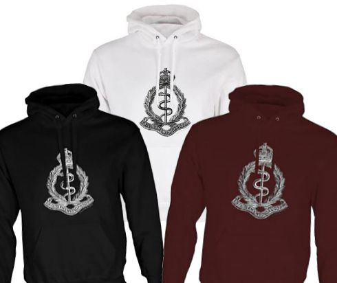 Unisex Black/White/Maroon Hoodies (Front Printed) - Royal Army Medical Corps Cap Badge – WW1