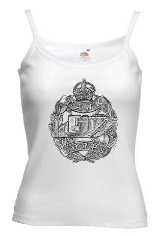 Ladies' White Vest – Tank Corps Cap Badge – WW1