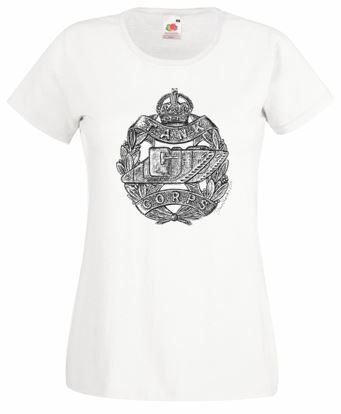 Ladies' White T-Shirt – Tank Corps Cap Badge – WW1