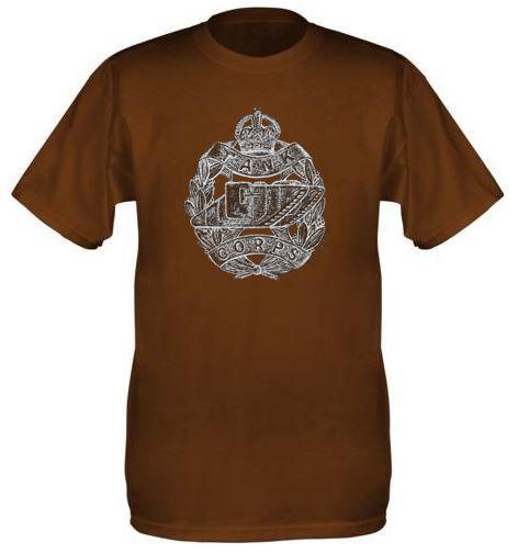 Men's Brown T-Shirt – Tank Corps Cap Badge – WW1