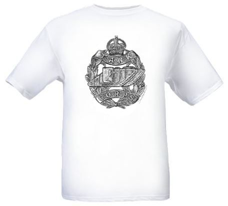 Men's White T-Shirt – Tank Corps Cap Badge – WW1