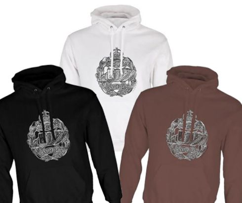 Unisex Black/White/Brown Hoodies (Front Printed) - Tank Corps Cap Badge – WW1