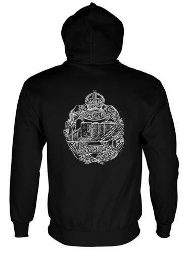 Unisex Black Hoodie (Back Printed) - Tank Corps Cap Badge – WW1