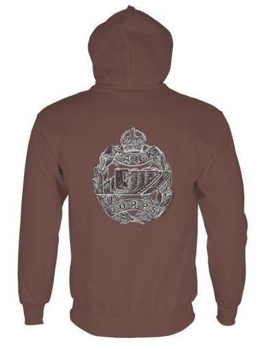 Unisex Brown Hoodie (Back Printed) - Tank Corps Cap Badge – WW1