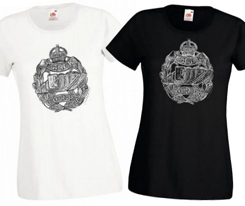 Ladies' Black & White T-Shirts – Tank Corps Cap Badge – WW1