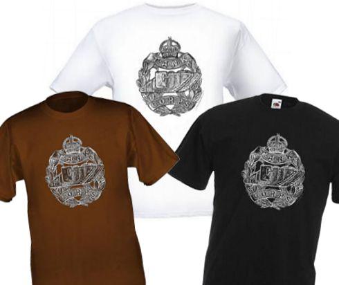 Men's Black/White/Brown T-Shirts – Tank Corps Cap Badge – WW1