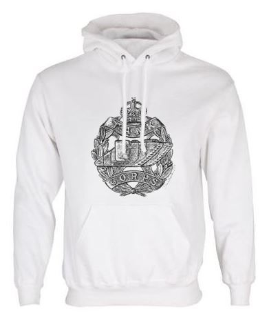 Unisex White Hoodie (Front Printed) - Tank Corps Cap Badge – WW1