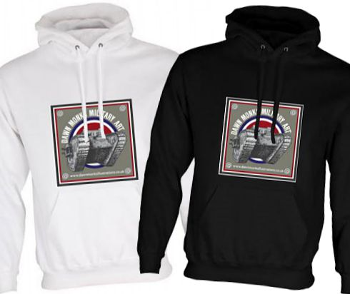 Unisex Black & White Hoodies (Front Printed) - Dawn Monks Military Art WW1 MkIV Tank Logo
