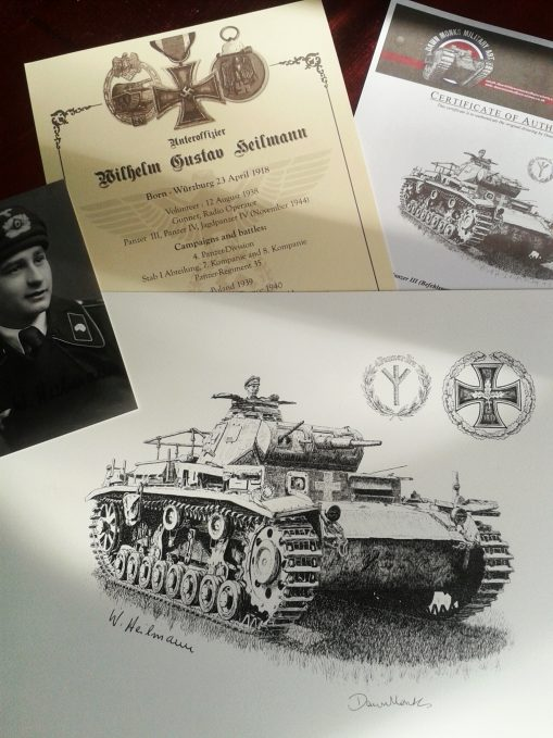 Panzer III Original Pen & Ink Drawing Package - Signed by WW2 Panzer Veteran