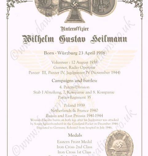 Biographical Sheet - Herr Wilhelm Heilmann - WW2 Panzer Veteran