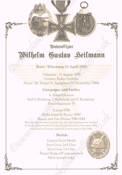 Biographical Sheet - Herr Wilhelm Heilmann - WW2 Panzer Veteran