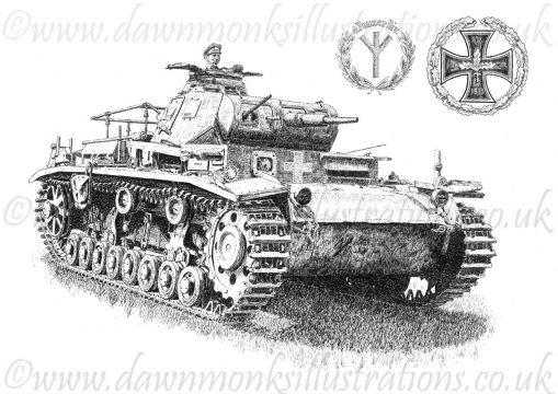 Panzer III (Ausf D) - Pen & Ink Drawing