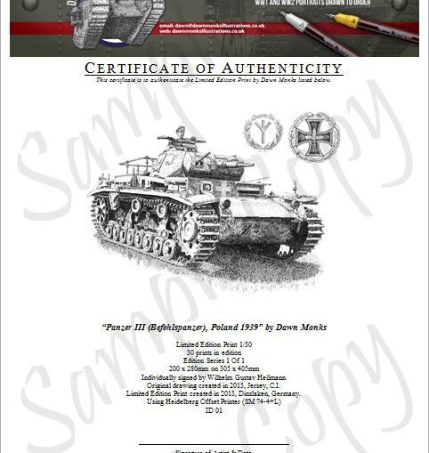 Original Panzer III Certificate of Authenticity