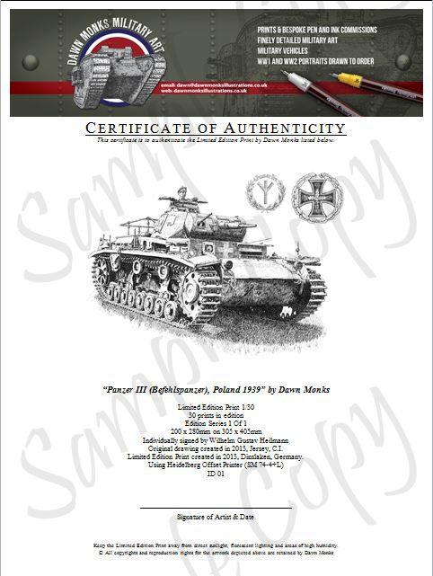 Original Panzer III Certificate of Authenticity
