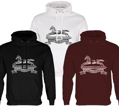 Unisex Black/White/Maroon Hoodies (Front Printed) - West Yorkshire Regiment WW1 Cap Badge Design