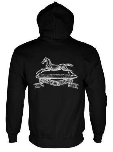 Unisex Black Hoodie (Back Printed) - West Yorkshire Regiment WW1 Cap Badge Design