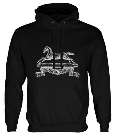 Unisex Black Hoodie (Front Printed) - West Yorkshire Regiment WW1 Cap Badge Design
