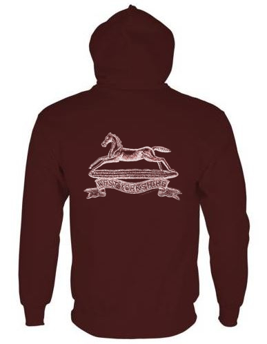 Unisex Maroon Hoodie (Back Printed) - West Yorkshire Regiment WW1 Cap Badge Design
