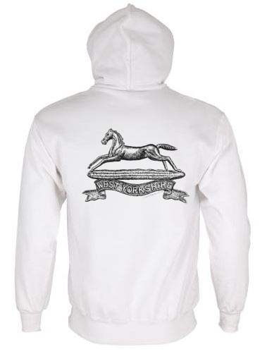 Unisex White Hoodie (Back Printed) - West Yorkshire Regiment WW1 Cap Badge Design