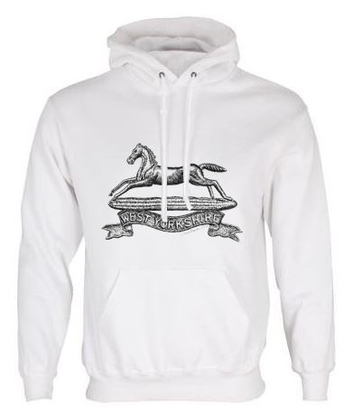 Unisex White Hoodie (Front Printed) - West Yorkshire Regiment WW1 Cap Badge Design