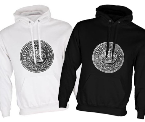 Unisex Black/White Hoodies (Front Printed) - Gott mit Uns WW1 Prussian Belt Buckle Design