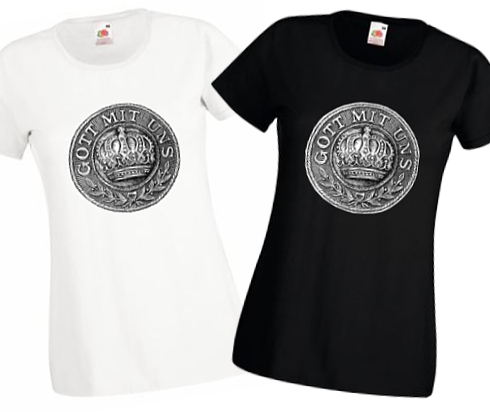 Ladies' Black & White T-shirts - Gott mit Uns WW1 Prussian Belt Buckle Design