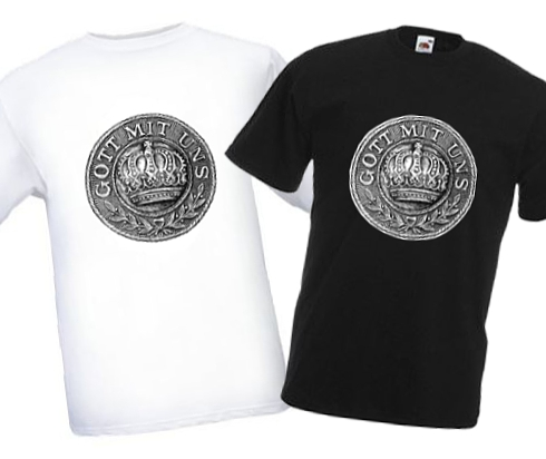 Men's Black & White T-shirts - Gott mit Uns WW1 Prussian Belt Buckle Design