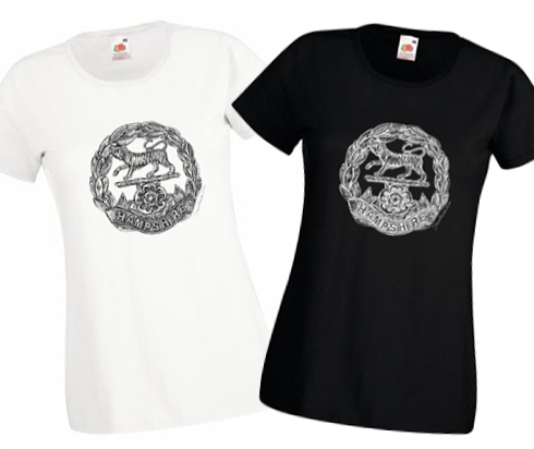 Ladies' Black & White T-shirts - Hampshire Regiment - First & Second World War Cap Badge