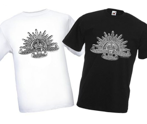 Men's Black & White T-shirts - Australian Imperial Forces - WW1