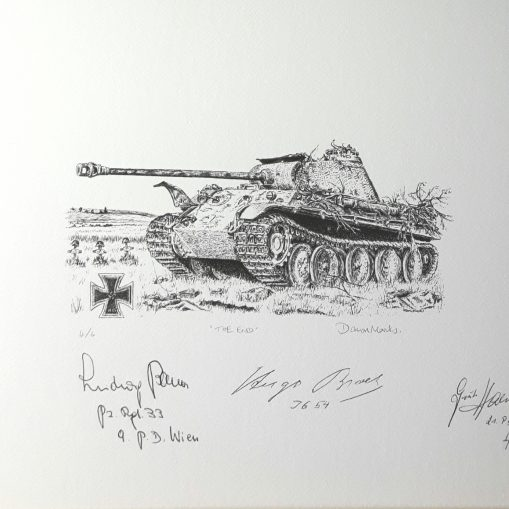 """""""The End"""" - Panther Pen & Ink Print Signed by Knight's Cross Holders"""