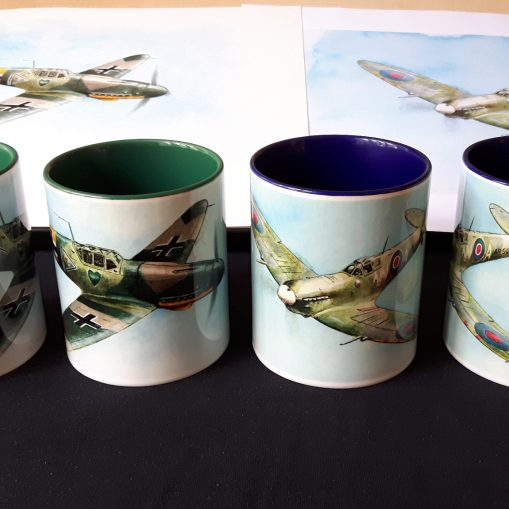 Bf 109G-2 and Spitfire - Pair of Stoneware Mugs