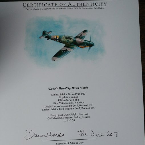 """Lonely Heart"" Bf 109G-2 Certificate of Authenticity"