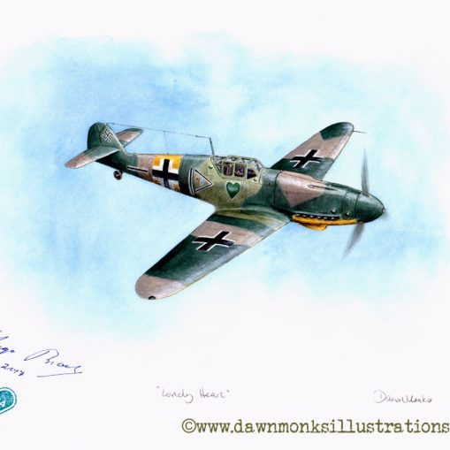 """Lonely Heart"" - JG54 Grunherz Messerschmitt Bf 109G-2 - Acrylic Ink Painting -Signed Original"