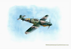 """Lonely Heart"" - JG54 Grunherz Messerschmitt Bf 109G-2 - Acrylic Ink Painting"