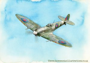 Out of the Blue - Spitfire AR501 - Acrylic Ink Painting