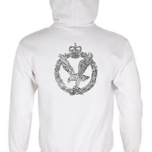 Unisex White Hoodie (Back Printed) - Army Air Corps