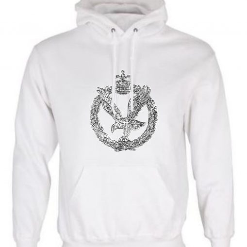 Unisex White Hoodie (Front Printed) - Army Air Corps