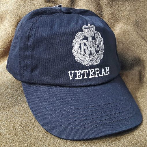 Baseball Cap - Black - RAF Queen's Crown (Veteran)