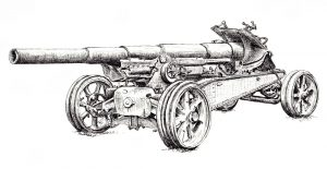 Canon de 155 GPF - Pen & Ink Illustration - History of War Magazine