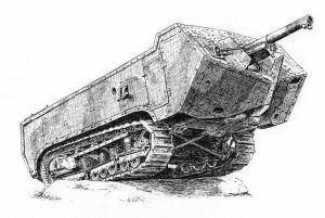 Char St Chamond - Pen & Ink Illustration - History of War Magazine