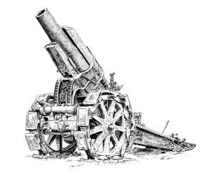 21cm Mörser 16 Howitzer - Pen & Ink Illustration - History of War Magazine