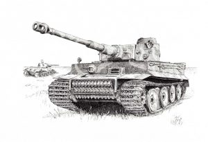 Tiger I - Pen & Ink Illustration - History of War Magazine - Art Card