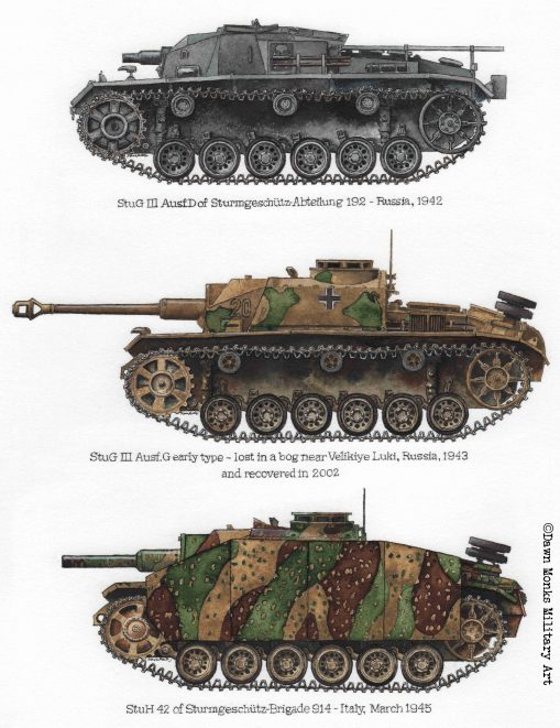Assault Gun Profiles - StuG III D, StuG III G, StuH 42 - Acrylic ink - Iron Cross Magazine