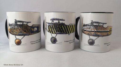 Set of 3 FWW aircraft - Hubrich, Lindenberger, von Wedel - Different Skies mugs - Issue 5 - Iron Cross Magazine