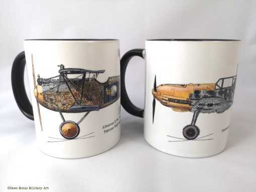 Hubrich Albatros D.Va and Bf-109 mug pair - In Different Skies - Issue 5 - Iron Cross Magazine