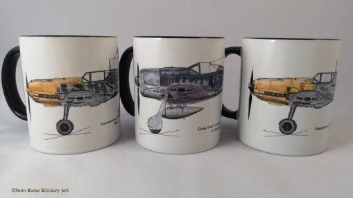 Set of 3 Second World War aircraft - Hubrich, Lindenberger, von Wedel - Different Skies mugs - Issue 5 - Iron Cross Magazine