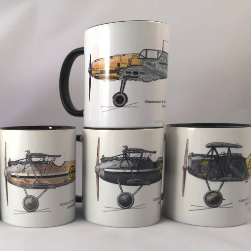 von Wedel Albatros D.Va (factory colours), Albatros D.Va (grey), Fokker D.VII and Bf-109 E4 mugs - In Different Skies - Issue 5 - Iron Cross Magazine